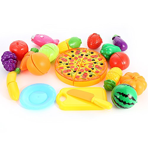Acefun 24Pcs Pretend Play Food Set, Kitchen Cutting Fruits and Vegetables with Pizza Cutting Food Set for Kids
