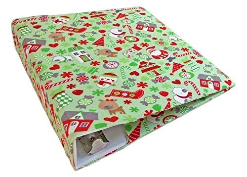 Christmas Green Stretch Fabric 3 Ring Binder Cover for 2 Inch to 3 Inch Wide Standard Binder