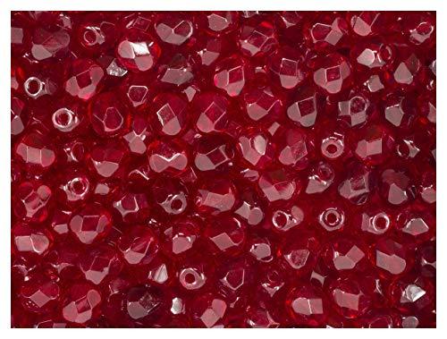 100 pcs Czech Fire-Polished Faceted Glass Beads Round 5mm Dark Ruby Garnet ()