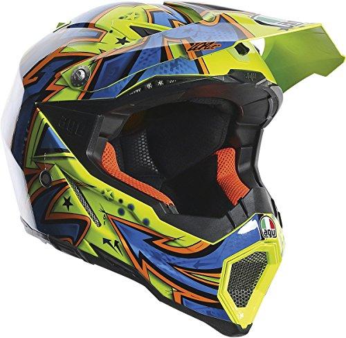 AGV AX-8 Spray Evo Helmet (Yellow/Blue/Orange, X-Large)