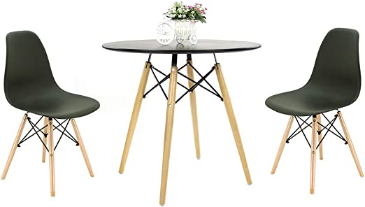 Round Wooden Table with 4 Chairs for Home Table + Black Chairs Office Dining Room Kitchen joolihome living Dining Table and Chairs Set 4