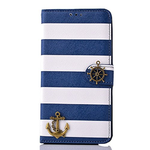 Price comparison product image Sannysis Stripes Anchor Rudder Wallet Case For Samsung Galaxy Note 4 (Blue)