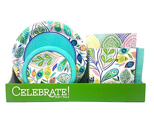 Disposable Dinnerware Plates and Napkins Party Pack, Serves 50, Flowers and Vines