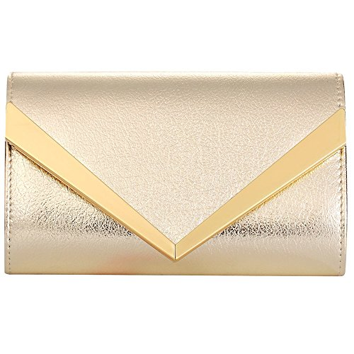 Women Fashion Handbag Shoulder Bags Envelope Clutch Crossbody Purse Leather Lady Bag with Detachable Chain (gold) by Hibags