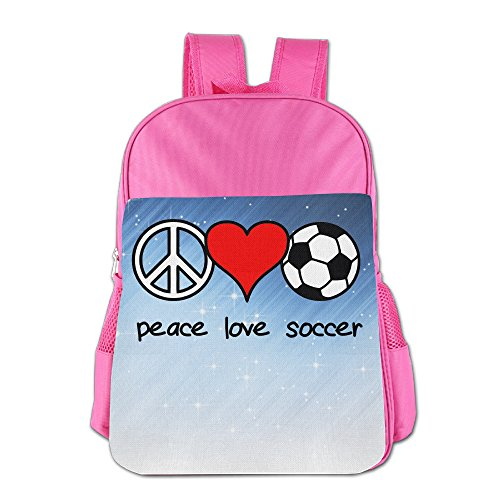 XianNonG Peace Love Soccer Boys And Girls Large Capacity School Bags Pink