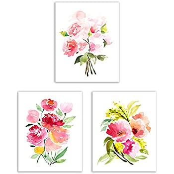 Floral Watercolor Pastel Flower Art Prints - Set of Three 8x10 Photos - Pretty Pink Collection of Zinnias, Poppies, Peonies and Ranunculus