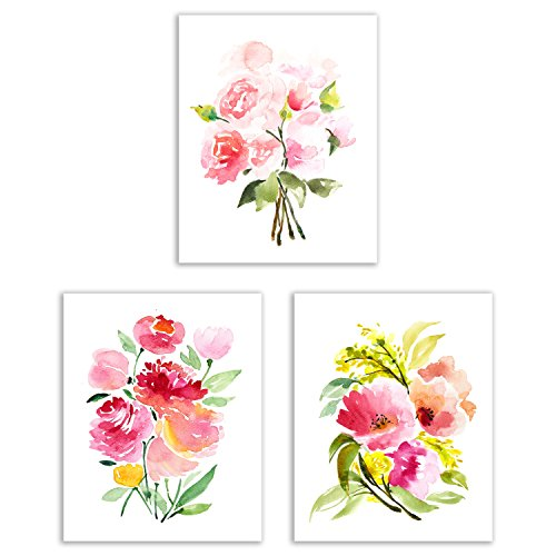 (Floral Watercolor Pastel Flower Art Prints - Set of Three 8x10 Photos - Pretty Pink Collection of Zinnias, Poppies, Peonies and Ranunculus)