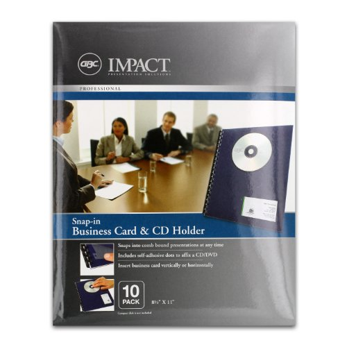 - GBC Impact Snap-In Business Card & CD Holder, 8-1/2