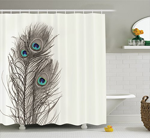 natural peacock tail feathers with eyes home designers selection decorative item pearl ivory bathroom art digital print polyester fabric shower curtain