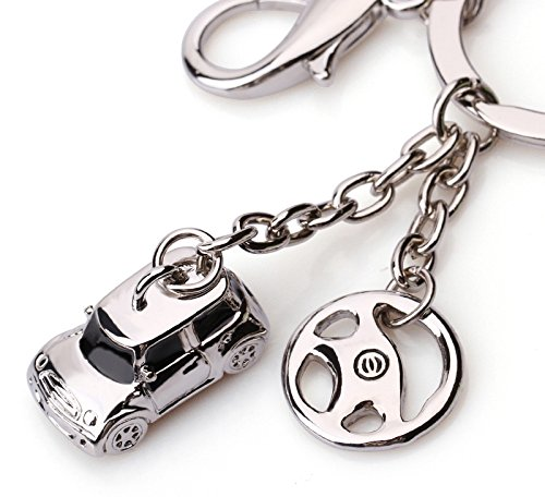 Dandingding Popular Men's Mini Car Shaped Titanium Steel Pendant Keychain Birthday Key Ring