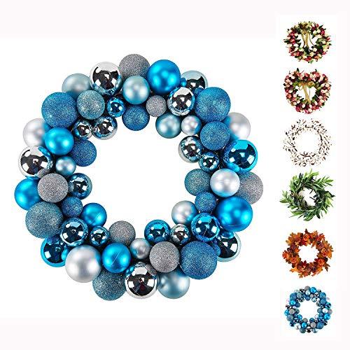 Baigio Woman Decormy 13inch Christmas Ornament Ball Wreath Blue for Decoration (Ball Wreath Christmas)