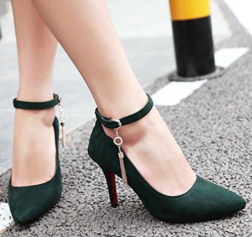 Idifu Donna Ciondolo Sexy Fibbia Scarpe A Punta Tacco Alto A Spillo Scarpe Con Cinturino Alla Caviglia Verde