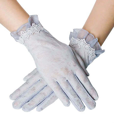 (Women Driving Sunscreen Slip Gloves Cotton Gloves Breathable Lace Bow (One size, 3 Grey) )
