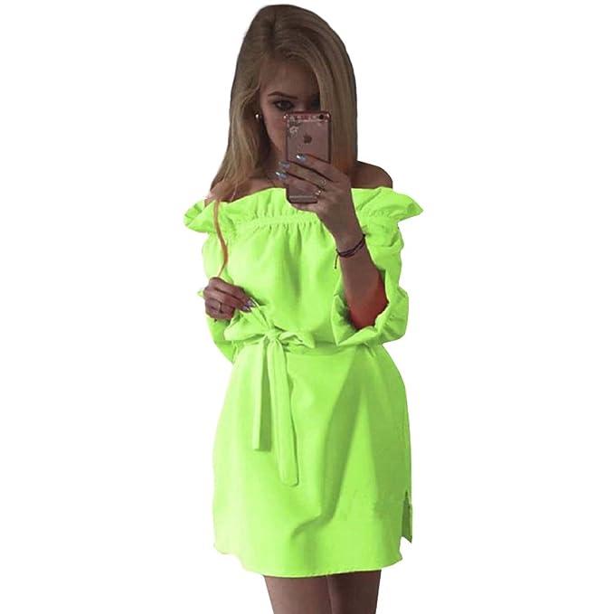PZJ® Damen Kleid, Grün Kleider Lose Sommerkleid Off Schulter ...