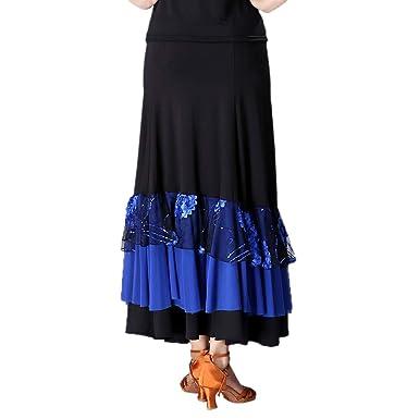 perfeclan Falda Larga Volante Bordado de Flores Lentejuelas para Baile de Flamenco, Vestido Elegante para Fiesta Cóctel Noche