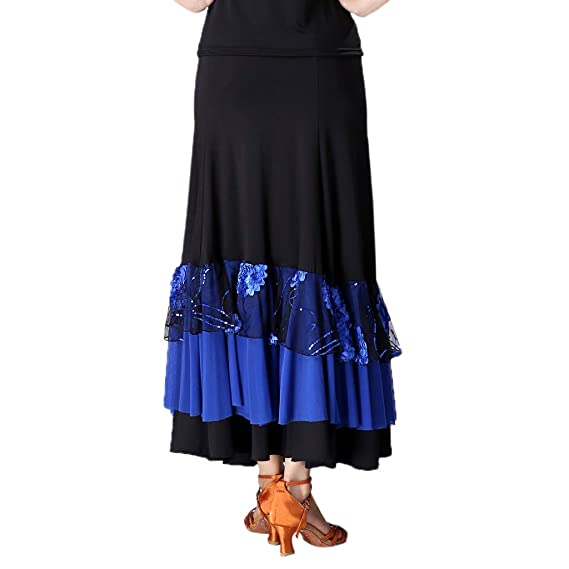 IPOTCH Falda de Flamenco Volante para Mujer - Black + Royalblue ...