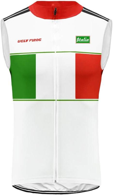 Uglyfrog Gilet Ciclismo Uomo Maglia Ciclismo Senza Maniche Uomo Traspirante Asciugatura Rapida per Gli Sport allAria Aperta Squadra Italiana WGQX11
