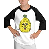 MULTY9 Pineapple Smiley Face Child Youth 3/4 Sleeve Raglan