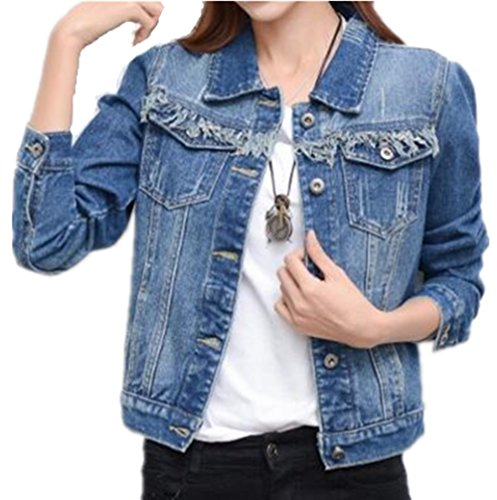 AILIENT Manteau Femme Denim Veste Hooded Automne Tops Blousons Casual Outerwear Bouton Coat Court Dcontracte Medium Blue2