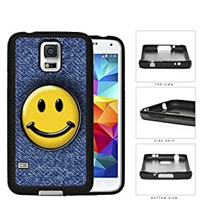 Smiley Face On Denim Jean Surface Rubber Silicone TPU Cell Phone Case Samsung Galaxy S5 SM-G900