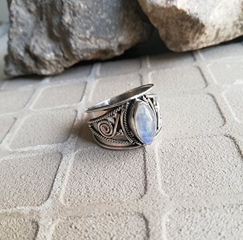 Rainbow Moonstone Ring, 925 Sterling Silver, Wide Band Ring, Healing Ring, Marquise Shape Ring, Party Wear Ring, Bohemian Jewelry, Birthday Gift, Anniversary Ring, Relationship Ring, US All Size Ring (Sterling Silver Wide Filigree Band)