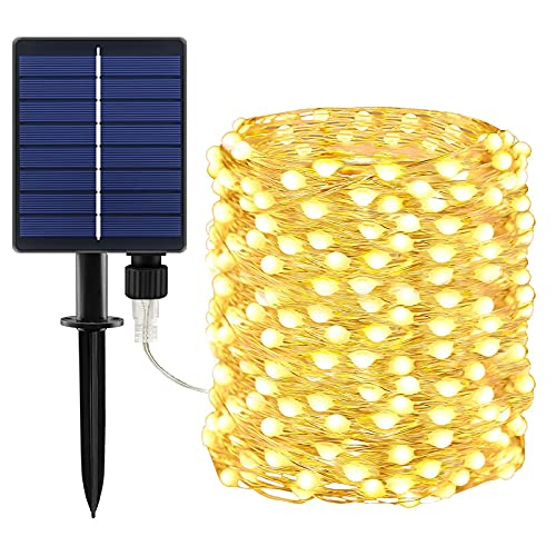 BOLWEO 1 Pack Solar String Lights Outdoor Super Bright Solar Fairy Lights 66Ft 200 Big LED Starburst Waterproof Decorations Rope for Garden Patio Backyard Tree Warm White