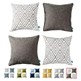 Home Plus Plaid Polyester Linen Decorative Pillow Covers 4 pcs Throw Pillows Covers Black and White Couch Pillowcase Cushion Cover 17X17 Throw Pillow Cover Couch Black White Set of 4 Holiday Bedroom