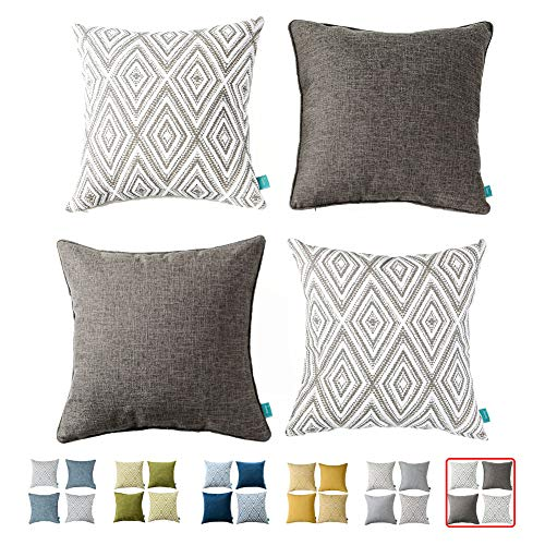 Home Plus Plaid Polyester Linen Decorative Pillow Covers 4 pcs Throw Pillows Covers Black and White Couch Pillowcase Cushion Cover 17X17 Throw Pillow Cover Couch Black White Set of 4 Holiday Bedroom (Decorative Throw Pillows)