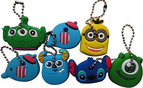 Key Cap Tags - LeBeila Key Cap Covers Cute Cartoon and Animal Key Identifier Silcone Housekey Labels Sleeve Multicolor & Fits Most Keys (7Pcs, Mixed Random)