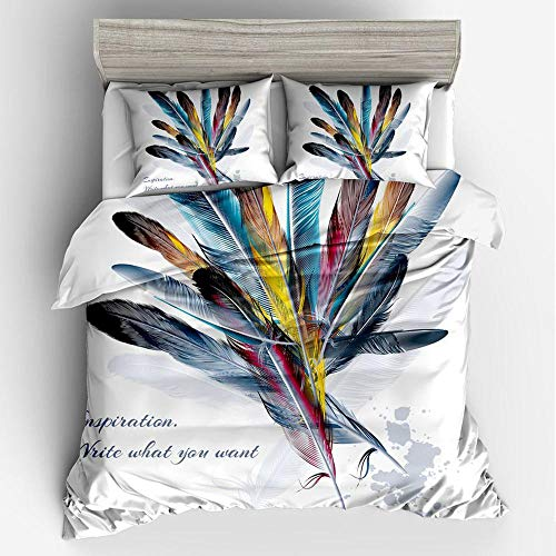 BEITAO Duvet Pillowcase 3-Piece Set 3D Feather Flower Digital Printing Bedding Three-Piece 8- UK Double (200200cm) (Best Feather Pillows Uk)