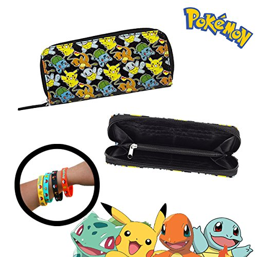 Pokemon Glitter Purse Wallet & 4-Pack Bracelets - Design with Pikachu Charmander Squirtle Bulbasaur (Design A Pokemon Trainer)