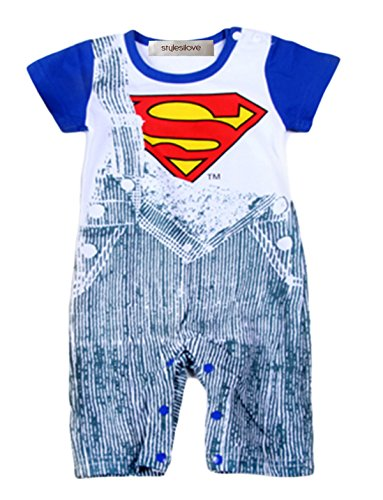 [StylesILove Infant Toddler Baby Boy Super Hero Jeans Print Costume Jumpsuit (95/18-24 Months, Blue] (18 Month Superhero Costumes)