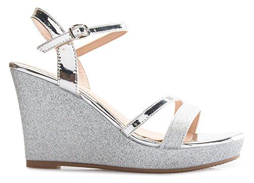 Wedge Glitter Strappy Sandals Platform Sexy K Glitter Women's OLIVIA Silver wABfU