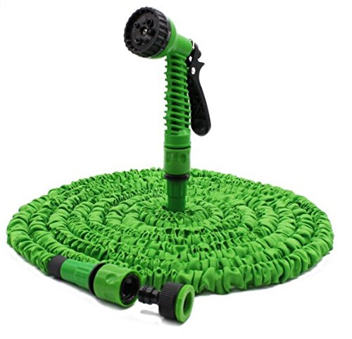 BOOM Flexible Garden Water Hose Pipe with Spray Gun, Green (100-Feet)