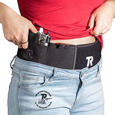 """Belly Band Holster for Concealed Carry for Men & Women - Adjustable 42"""" Gun Holder for Pistols, Revolvers & Handguns - Noiseless Fast-Opening Snap & Anti-Sweat Cotton Lining - BONUS Carry Bag"""