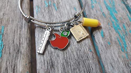 (Teacher Bangle Bracelet- Adjustable Bangle Bracelet with ruler charm, apple charm, chalkboard charm, and pencil charm- GREAT Teacher Gift)