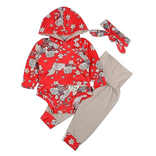 Price comparison product image MiyaSudy 3PC Baby Girls Outfits Cotton Hooded Sweatshirt Romper + Pant + Headband