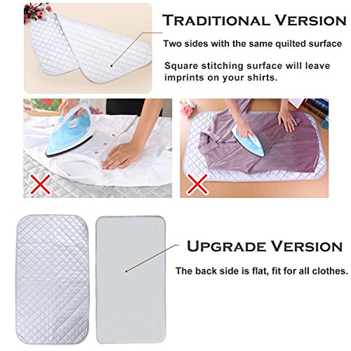 Dryer Ironing Mat Portable Travel Ironing Blanket Table Top Thickened Heat Resistant Ironing Pad Cover for Washer Gift Silicone Iron Rest Pad Small Ironing Board Silver Countertop