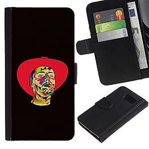 All Phone Most Case / Oferta Especial Cáscara Funda de cuero Monedero Cubierta de proteccion Caso / Wallet Case for Samsung Galaxy S6 // Psychedelic Cowboy