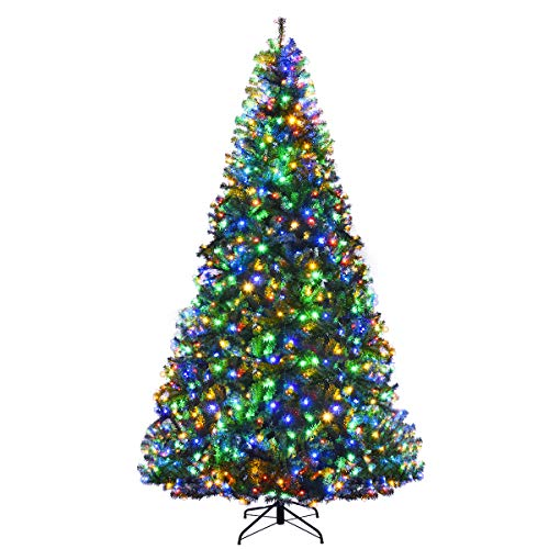 Goplus 9FT PreLit Artificial Christmas Tree AutoSpread/Close up Branches 11 Flash Modes with Multicolored LED Lights amp Metal Stand