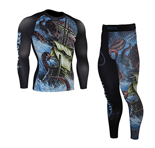 Exploration Brazilian Jiu Jitsu Bundle, BJJ Rash Guard + Spats. BJJ, MMA and Grappling Set. Premium Quality. Made to Last.(X-Large, Long Sleeve Rash Guard + Spats)