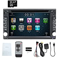 EinCar 6.2 Inch Universal Double 2 Din In Dash Car CD DVD Player GPS Stereo Radio BT USB RDS + FREE MAP CARD Support Reverse Camera Input