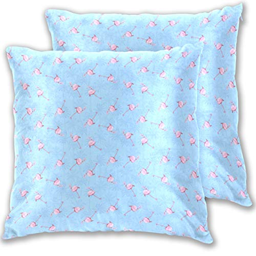 Stowely Tiffanyuo Blue Beach Flamingo Ornament Square Sofa Cushion Cover Home Holiday Party Decoration Pillowcase Printed Zipper Closure Pillow 2 Packs
