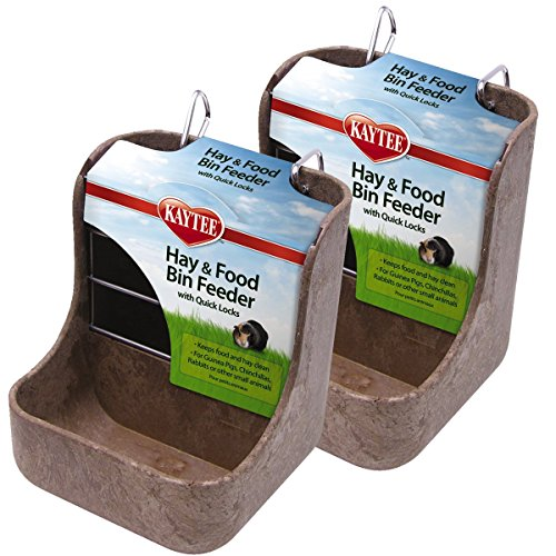 Kaytee Hay n Food Bin Feeder with Quick Locks (2-Pack) (Colors May Vary)