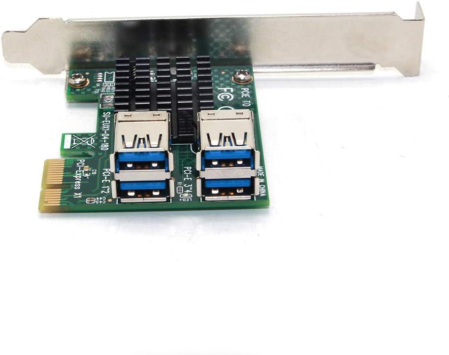 tarjetas elevadoras para dispositivos de miner/ía bitcoin convertidor USB 3.0 Raburt Tarjeta de expansi/ón PCI de 1 a 4 ranuras PCI