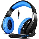 Letton G5S Ps4 Xbox One Headset with Microphone Gaming Headset Headphones For Ps4 Pc Xbox One Mac Iphone Laptop (Black and Blue)