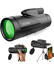 Goldmeet 12X50 High Power HD Monocular Telescope, Portable Night Vision Telescope Waterproof, Adults Spotting Scopes with Phone Holder and Tripod for Bird Watching, Camping, Travelling