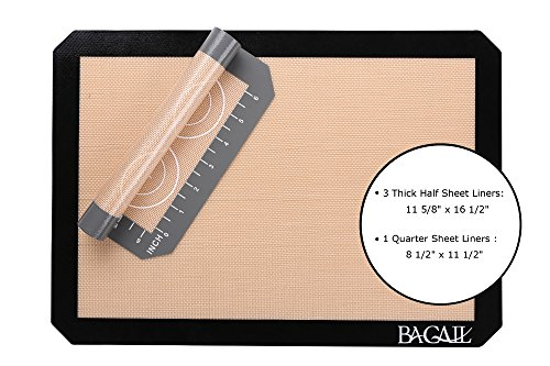 4 Set Silicone Baking Mat – 3 Thick Half Sheet Liners(11 5/8'' x 16 1/2'') and 1 Quarter Sheet Liners (8 1/2'' x 11 1/2'') - Professional Grade Non Stick Silicon Liner for Bake Pans & Rolling by BAGAIL (Image #1)