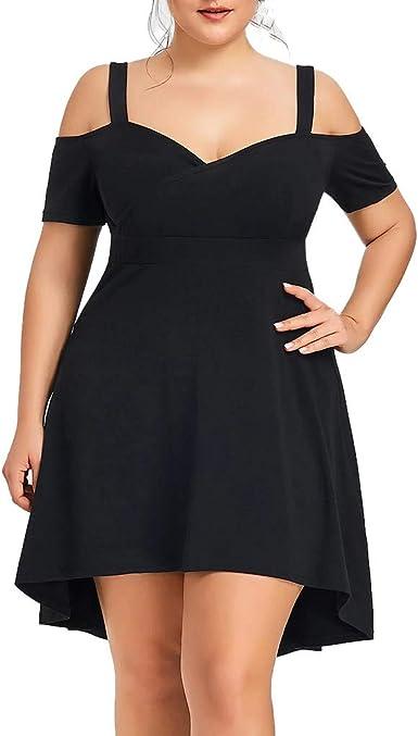 Vestidos Para Mujer Tallas Grandes Moda Fiesta Vestido Elegante Vestido De Noche Color Solido Vestido De Coctel Verano Casual Vestidos Cortos Sexy Vestido Un Hombro Vpass Amazon Es Ropa Y Accesorios