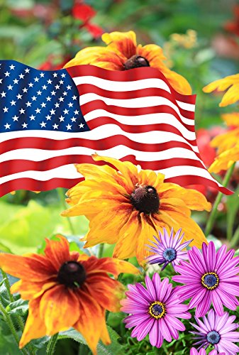 Decorative Patriotic America Star-Spangled Banner Flower Summer Garden Flag Celebration for 4th of July Independence 12.5'' X 18''